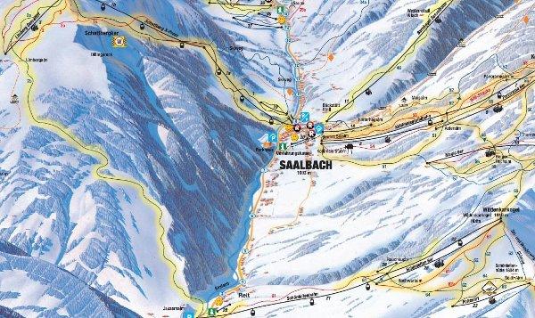 plattegrond skigebied Saalbach, plattegrond skigebied Saalbach